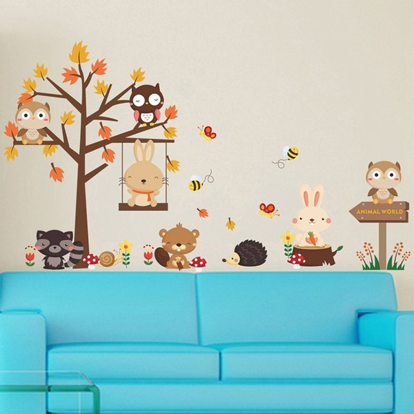 Forest Owl Butterfly Swing Rabbit Squirrel Wall Stickers Animal Tree For Kids Rooms Children Baby Nursery Rooms Home Decor