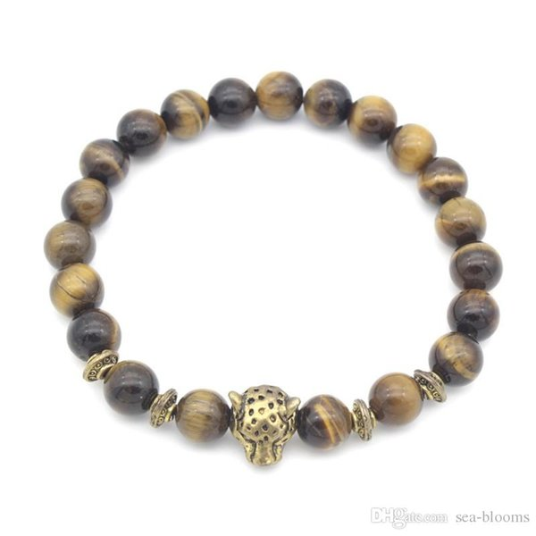 Free DHL Gold Silver Leopard Lion Tiger Eye Crystal Gemstone Beads Bracelets Good Luck Bracelet Unisex Bracelet Jewelry G374S