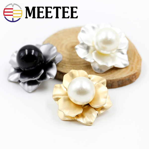 Meetee Mink Fur Coat Buttons Clothes Accessories Flowers Pearl Metal Button Mushroom Bouton Trench Button Clasp for woman coat bags E4-38