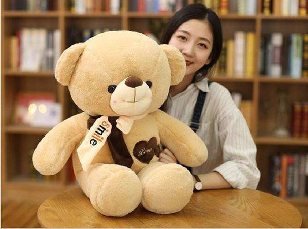 new style about 60cm love bear plush toy light brown teddy bear soft doll pillow Christmas gift b1978