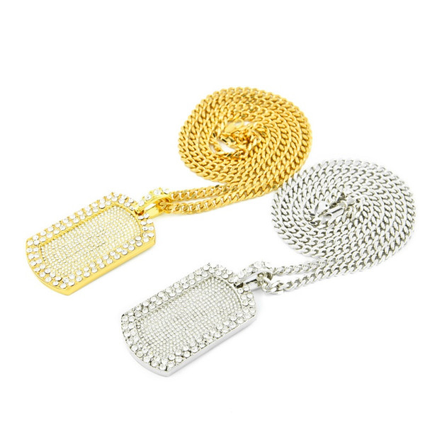 Dog Tag Pendant Necklace New Gold Silver Full Diamond Iced Out Mens Hip Hop Jewelry Necklace