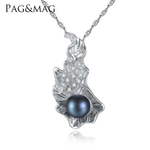 PAG&MAG Brand Unique Style Big shells shaped 8-8.5mm Natural Bread Pearl Pendant Necklace For Women Sterling Silver Chain