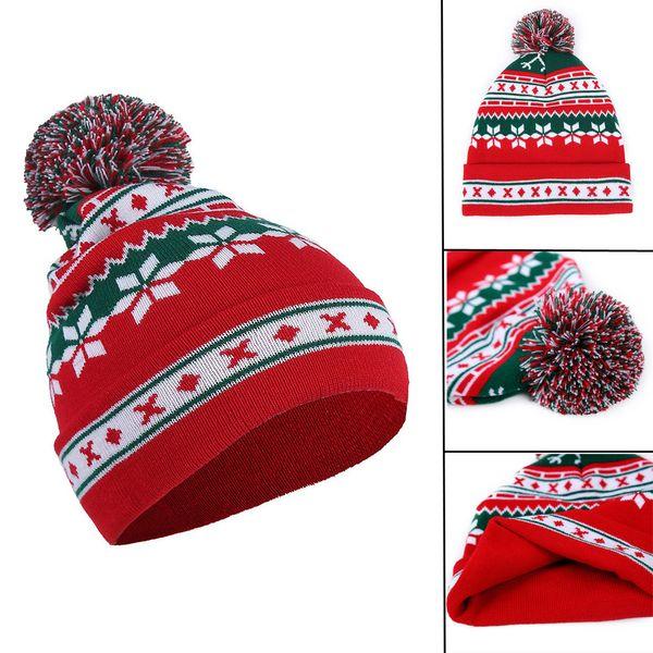 Men Women Baggy Warm Crochet Winter Wool Knit Ski Beanie Skull Christmas Hat Santa Claus Snowflake Knitted Cap