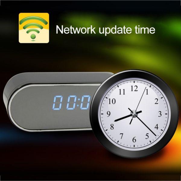HD WIFI Mini Camera Clock Night Vision Clock Alarm P2P Livecam IR Smart Recording Camcorder Wifi Remote Control Support TF card