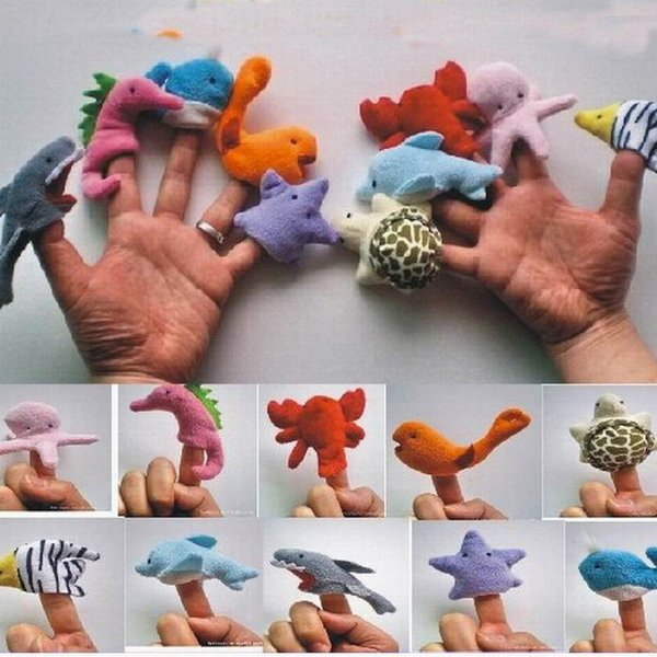 New Arrival Ocean Animals Finger Puppets Plush Toys Family Story Telling Play Hand Puppets Dolls Baby Kids Educational Doll 10pcs/lot