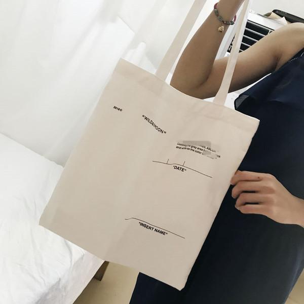 18SS C/O TOTE Paris Canvas Shoulder Bag Fashion Brand White Bags Men Women Shopping Travel Small Pack Pocket HFTTBB005
