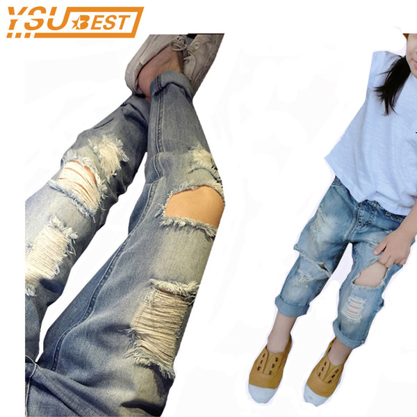 9aa81e4ab844 1-6yrs Baby Girls Jeans Pants New Spring Long-Length Fashion Kids Loose  Ripped