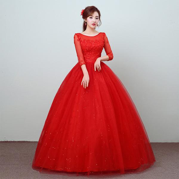 Wedding dress 2018 New Arrival Korean Stlye Fashion Simple Lace Three Quarter Sleeve Flower Red Bridal Gowns Vestidos De Novia