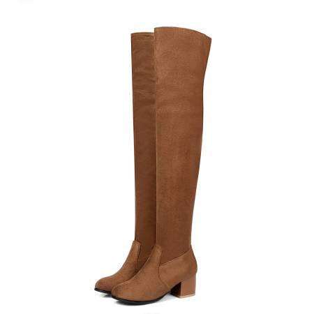 Free Shipping womens over the knee high chunky middle boots platform legging fashion suede Wholesale Classic medium cheap PU boots C9-35