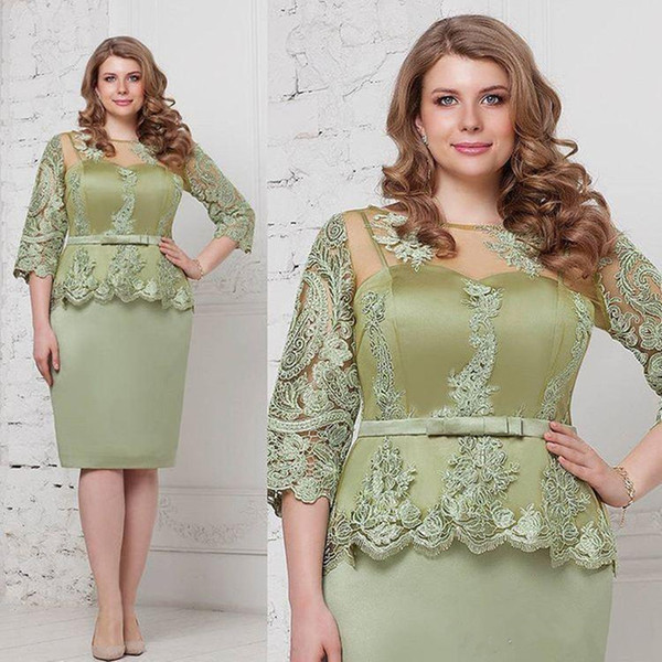 Sage Plus Size Mother of the Bride Dresses Sheer Jewel Neck Lace Half Sleeves Sheath Knee Length short Mother's Dress Custom Made