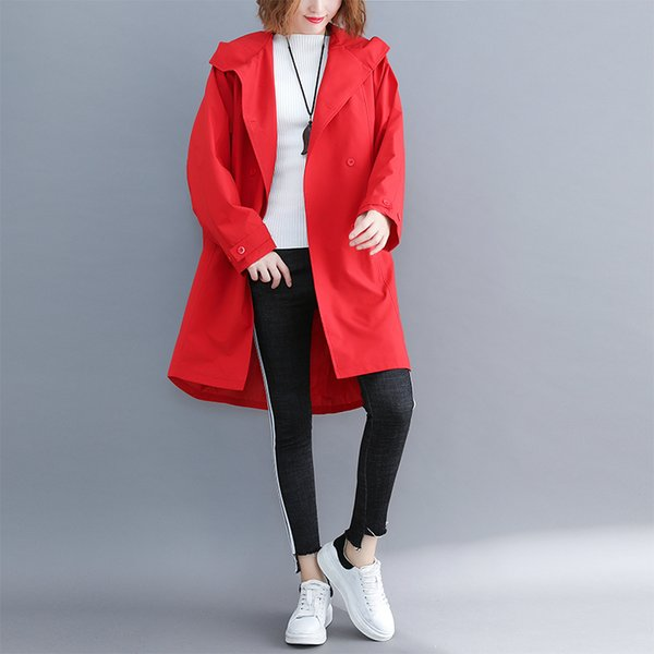 High Quitly Trench Coat For Women Plus Size Women's Long Windbreaker Spring Autumn Female Loose Red Black Color Hooded Outwear