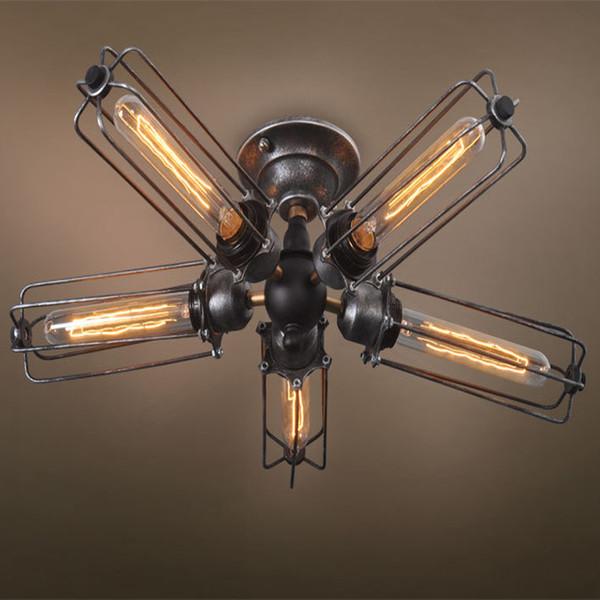 Vintage Industrial Barn Metal Cage Ceiling Lamp Flush Mount Steampunk Edison Hanging Light Mini Art Chandelier 110V/220V/230V