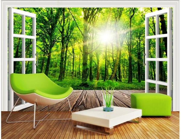 3D Raum Wallpaper Benutzerdefinierte Foto Der Blick Auf Den Sonnenlicht  Wald Vor Dem Fenster Malerei