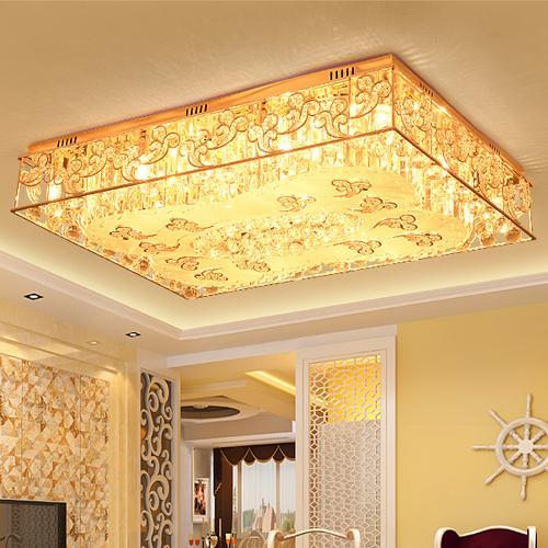 Modernas lámparas de araña de techo de lujo LED creativo rectángulo luces de araña de cristal para hotel villa sala de estar lámparas de techo