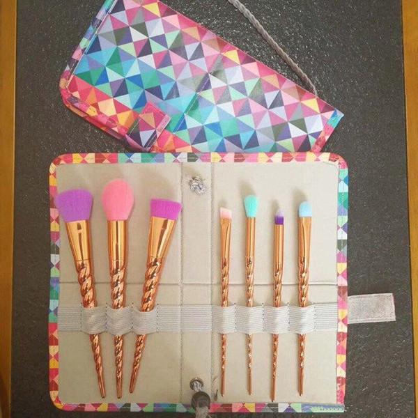 Makeup brushes sets cosmetics brush 7pcs bright color Spiral shank make-up brush makeup tools DHL shipping