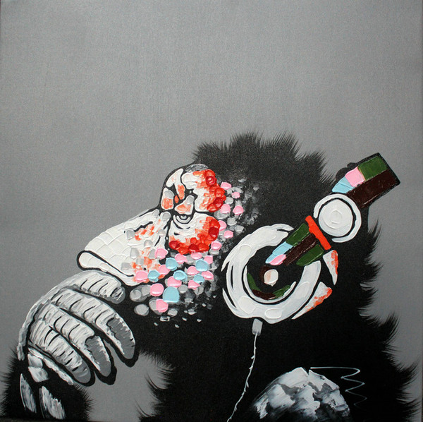 Peint à la main peinture à l'huile décoré abstrait photo Art peintures sur toile heureux gorille écouter de la musique animal pour canapé mur salon déco