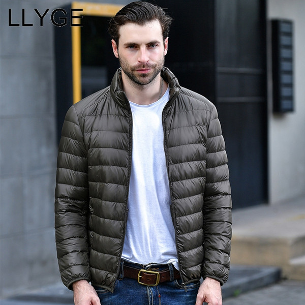 LLYGE Winter Men Ultralight Down Jackets 2018 Casual Slim Fit Warm White Duck Down Coats Parka Men's Solid Stand Collar Overcoat