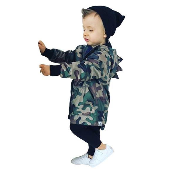 Kids Baby Boy Dinosaur Camouflage Hooded Windbreaker Tops Coat Jacket baby boy winter clothes Children's Clothing boys coat A