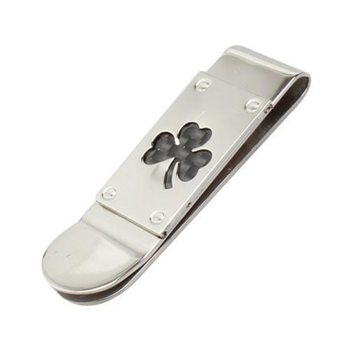 SNNY Jewelry Women Men Money Clip, Stainless Steel Carbon Fiber Inlay Clover Leaf Money Clip, billfold, Black Silver