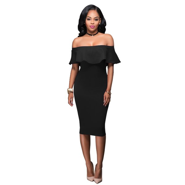 Women's Summer Off Shoulder Midi Bodycon Dress Slash Neck Ruffle Strapless Backless Sexy Pencil Slim Dress Elegant Party Dresses Black Dress