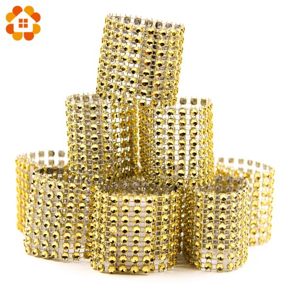 10PCS/Lot Gold Bling Plastic Rhinestone Wrap Napkin Ring Napkin Buckle For Wedding Party Chair Sashes Decoration Crafts