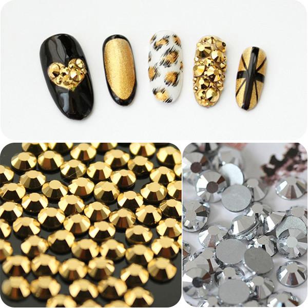 1440 unids Hematites de Plata Hematites de Plata No Hotfix Flatback punk estilo Rhinestones para Uñas Decoración Del Arte Glitter Jewelry Beads
