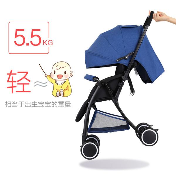 Carrinho de bebê pode sentar e deitar Carrinho de bebê portátil ultra leve Mini pára-quedas dobrável bidirecional.