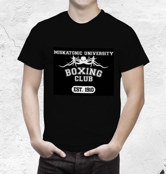 Chamada De Cthulhu T Camisa Miskatonic University Club Manga Curta Hip Hop Camiseta T top tee T-Shirt Design Básico Top tee