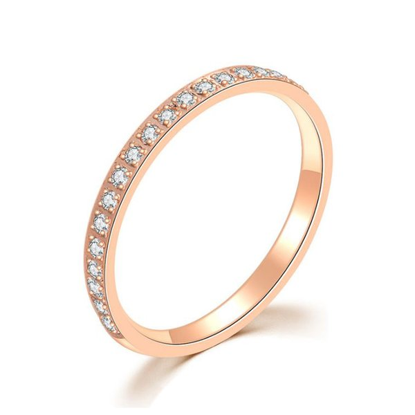 18K Rose Gold Wedding Ring 20pcs Diamond inside, Finger Rings For Beautiful Women Couple Tail ring Engagement gift