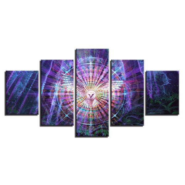 Psychedelic Kaleidoscope Owl Bird LARGE 5Panels Painting Giclee Prints for Children Room Home Decor interior (No Frame)