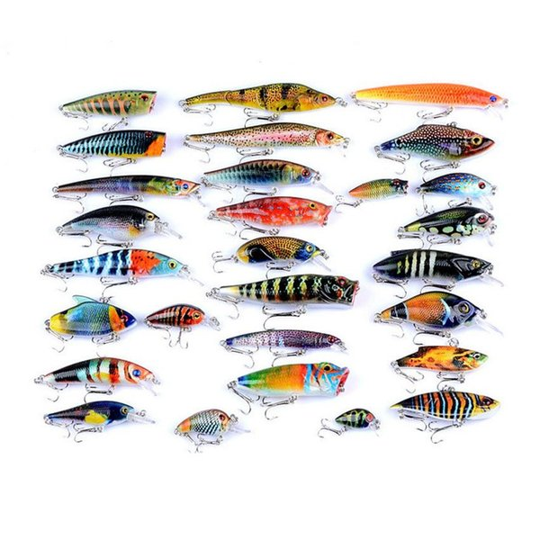 56 Pcs/lot Painted Bionic bait set ABS Plastic Fishing Lures Kit Minnow VIB Popper Rattlin Crank Pencil Artificial lure Baits Hooks