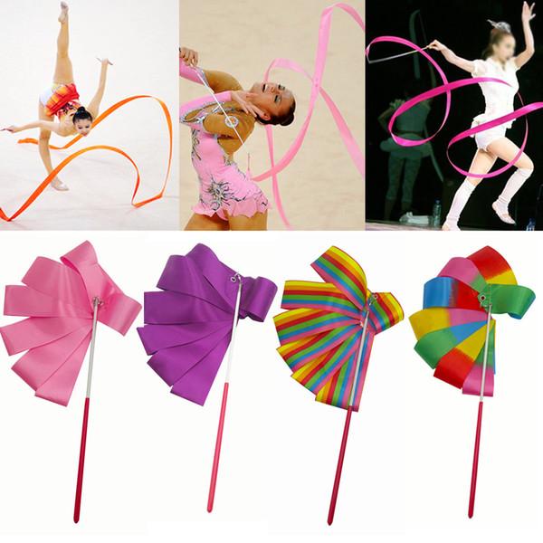 1 pz 2 M / 4 M Colourful Palestra Nastro Danza Nastro Ritmica Art Gymnastic Balletto Streamer Twirling Rod Stick per Palestra Formazione