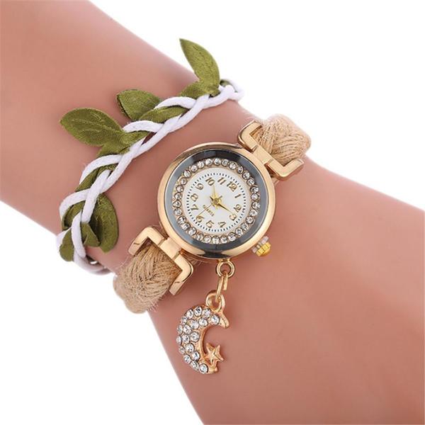TZ#501 Braid bracelet watch ladies pendant moon quartz watch Free Shipping