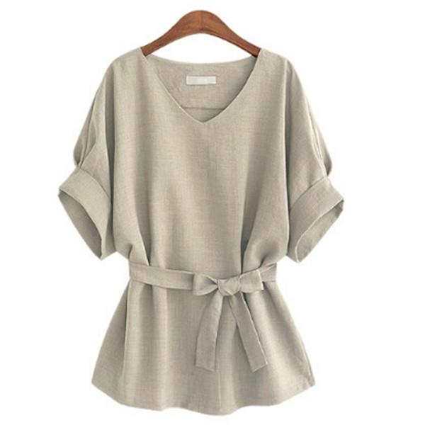 Verano de Las Mujeres Blusas Túnica de Lino Camisa Con Cuello En V Gran Arco Batwing Lazo Flojo Señoras Blusa Mujer Top Para Tops 4Color más nuevo