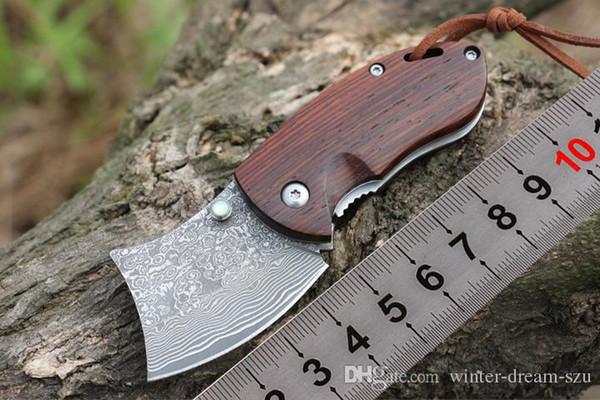 Небольшой VG10 Дамаск бритва складной карманный нож Палисандр ручка ножи для кемпинга утилита инструменты лучший брелок папка Рождественский подарок коллекция P206Q