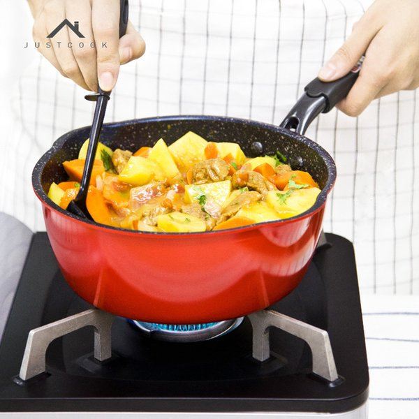 Justcook Frying Pan Non -Stick No Oil -Smoke Frying Steak Eggs Wok Stone Cook Pan General Use For Gas And Induction Cooker