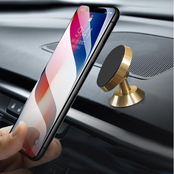 Alluminio magnetico supporto per auto supporto cruscotto auto 360 ° rotazione forte supporto del telefono magnetico per Samsung Note 9 iPhone X
