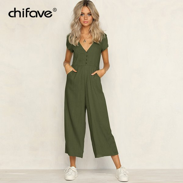 2018 Casual Women Jumpsuit Sexy V Neck Romper Short Sleeve Jumpsuits Wide Leg Pants Vintage Solid Party Overalls Rommers chifave