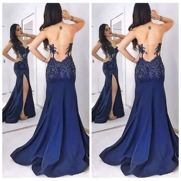 2019 Sweetheart Slim Fitted Prom Dresses Lace Appliques Backless Sweep Train Sexy Split Side Sexy Vestidos De Special Occasion Dresses