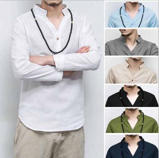 Erkek Pamuk Keten Gömlek Erkekler Uzunluğu Kollu Katı Çin Giysi Erkek V Yaka Gömlek Büyük Boy 5XL2018 Yeni