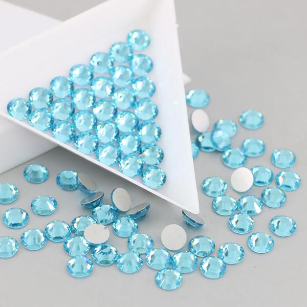 SS3-SS30 Glass Flatback Rhinestones trim wedding decoration crafts Crystals for clothes All Size 1440pcs/set (Aquamrine)