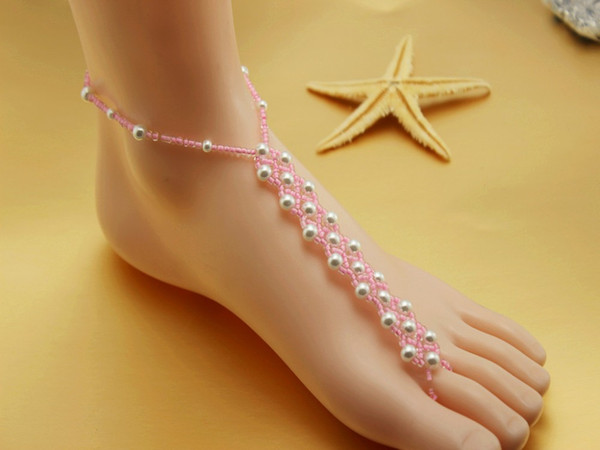 NEW HANDMADE beach wedding barefoot sandals,Elastic bridal foot jewelry VARIOUS COLORS gift packing20prs/lot free shipping