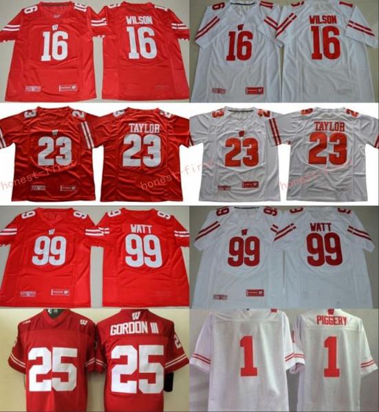 NCAA Wisconsin Badgers College Football 16 Russell Wilson Jersey Men 99 JJ Watt 23 Jonathan Taylor 25 Melvin Gordon III 1 Piggery Red White