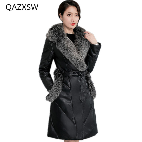 2018 New Women's Winter Leather Coat In The Long Section of Slim Leather Down Jacket Fox Fur Collar Sheep Skin Warm Jacket TQ237