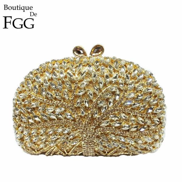 Boutique De FGG Golden Tree Women Crystal Bag Evening Purse Metal Minaudiere Handbag Rhinestone Wedding Party Bridal Clutches