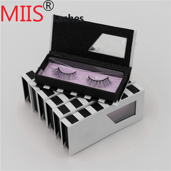 Wholesale and retail black and white stripe lashes packaging customized eyelashes box