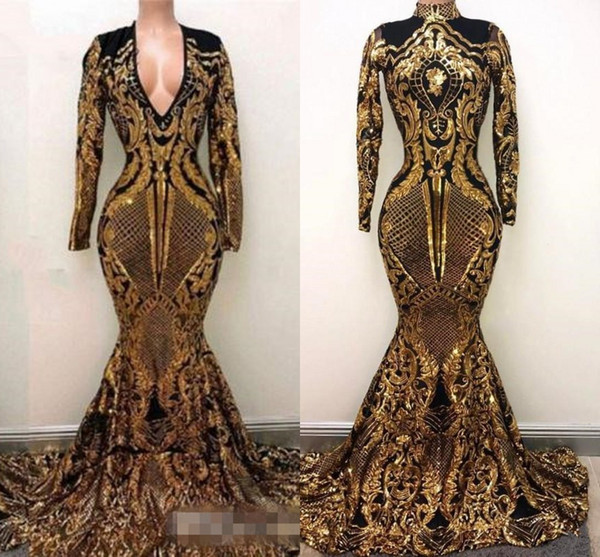 2018 new luxury gold black prom dre e mermaid off houlder african prom gown ve tido pecial occa ion dre e evening wear