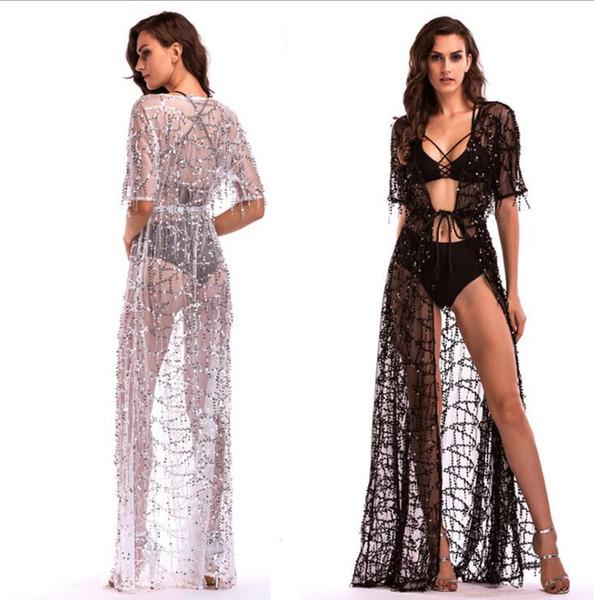 buy popular 2e3ff 051e5 Acquista Vestiti Lunghi Donna Cardigan Sexy Nero Bianco Nightclub Prom  Outfit Maxi Vestito Con Nappine Paillettes Abiti Da Spiaggia Scollati A  $21.01 ...