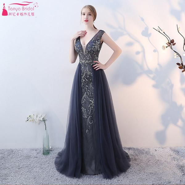 Deep V-Neck Mermaid Evening Dresses Luxury Beaded Formal Dress with Tulle Skirt Long Prom Dress Vestido De Festa ZE047