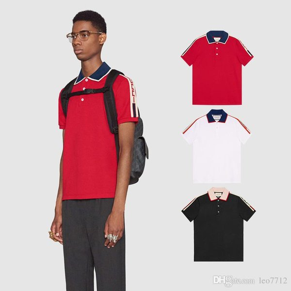2018 cotton polo shirt with contrast collar and sleeve bottom logo jacquard stripe cotton shirt polo